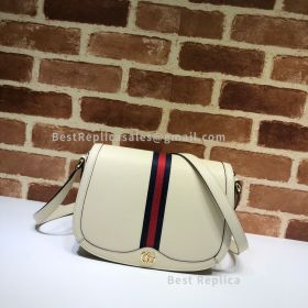 Gucci Ophidia Small Leather Shoulder Bag White 601044