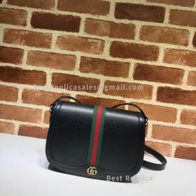 Gucci Ophidia Small Leather Shoulder Bag Black 601044