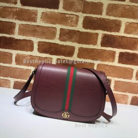Gucci Ophidia Small Leather Shoulder Bag Red 601044