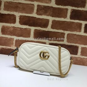 Gucci GG Marmont Leather Crossbody White Bag 598596