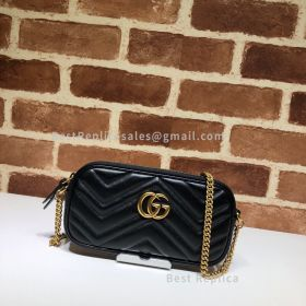 Gucci GG Marmont Leather Crossbody Black Bag 598596
