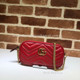 Gucci GG Marmont Leather Crossbody Red Bag 598596