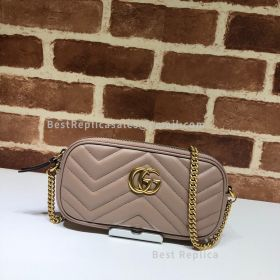 Gucci GG Marmont Leather Crossbody Bag Dust Pink 598596