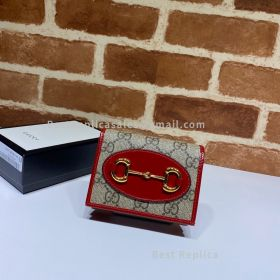 Gucci Horsebit 1955 GG Supreme Card Case Wallet Red 621887