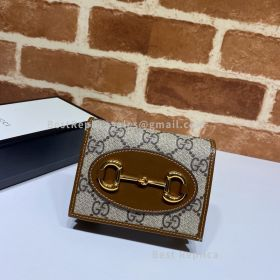 Gucci Horsebit 1955 GG Supreme Card Case Wallet Brown 621887