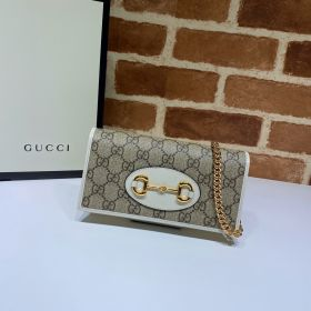 Gucci Horsebit 1955 GG Supreme Wallet With Chain White 621892