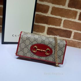 Gucci Horsebit 1955 GG Supreme Wallet With Chain Red 621892