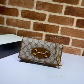 Gucci Horsebit 1955 GG Supreme Wallet With Chain Brown 621892