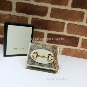 Gucci 1955 Horsebit GG Supreme Wallet With Chain White 623180