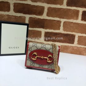 Gucci 1955 Horsebit GG Supreme Wallet With Chain Red 623180