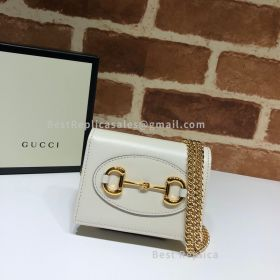 Gucci 1955 Horsebit Leather Wallet With Chain White 623180