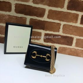 Gucci 1955 Horsebit Leather Wallet With Chain Black 623180