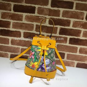Gucci Ophidia GG Flora Small Bucket Bag Yellow 550621
