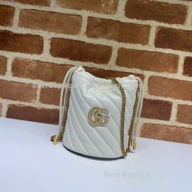 Gucci GG Marmont Mini Diagonal Bucket Bag White 575163