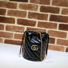 Gucci GG Marmont Mini Diagonal Bucket Bag Black 575163