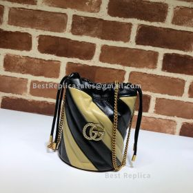 Gucci GG Marmont Mini Diagonal Bucket Bag Black And Yellow 575163