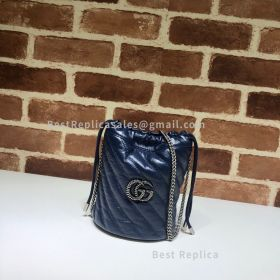 Gucci GG Marmont Mini Diagonal Bucket Bag Blue 575163