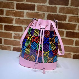 Gucci GG Psychedelic Bucket Bag Pink 598149