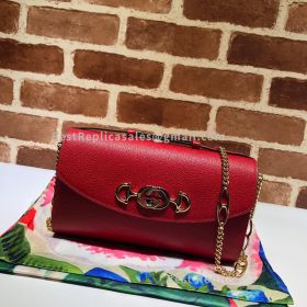 Gucci Zumi Grainy Leather Small Shoulder Bag Red 572375