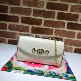 Gucci Zumi Smooth Leather Small Shoulder Bag White 572375