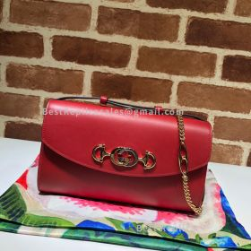 Gucci Zumi Smooth Leather Small Shoulder Bag Red 572375