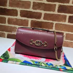 Gucci Zumi Smooth Leather Small Shoulder Bag Wine 572375