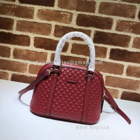 Gucci Micro GG Leather Convertible Mini Dome Top Handle Bag Red 449654