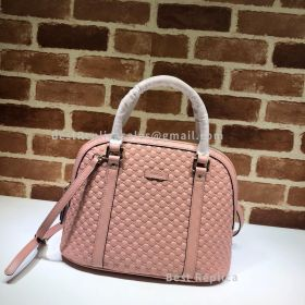 Gucci Micro GG Leather Convertible Medium Dome Top Handle Bag Pink 449663