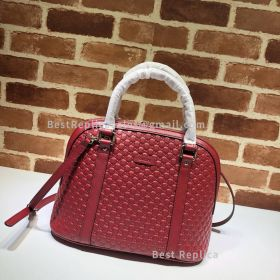 Gucci Micro GG Leather Convertible Medium Dome Top Handle Bag Red 449663
