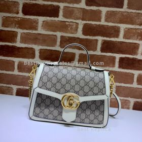 Gucci GG Marmont Small Canvas Top Handle Bag White 498110