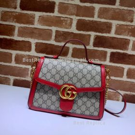 Gucci GG Marmont Small Canvas Top Handle Bag Pink 498110