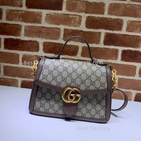 Gucci GG Marmont Small Canvas Top Handle Bag Brown 498110