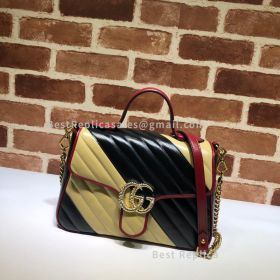 Gucci GG Marmont Small Top Handle Bag Black And Yellow 498110