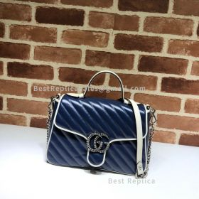 Gucci GG Marmont Small Top Handle Bag Blue 498110