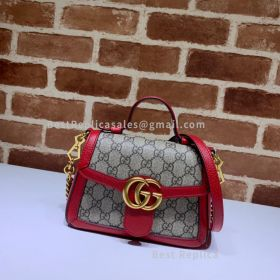 Gucci GG Marmont Mini Canvas Top Handle Bag Red 547260