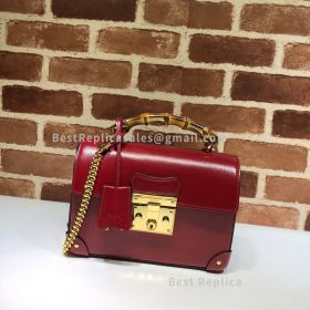 Gucci Padlock Small Bamboo Leather Shoulder Bag Red 603221