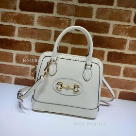 Gucci Horsebit 1955 Small Leather Top Handle Bag White 621220