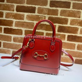 Gucci Horsebit 1955 Small Leather Top Handle Bag Red 621220