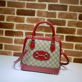Gucci Horsebit 1955 Small GG Supreme Smooth Leather Top Handle Bag Red 621220