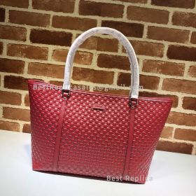 Gucci Micro GG Guccissima Leather Large Joy Tote Bag Red 449647