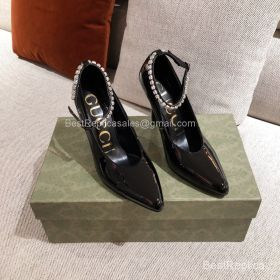 Gucci Classic Pumps with Crystal Ankle Strap in Black Patent Calfskin 100MM 2191260