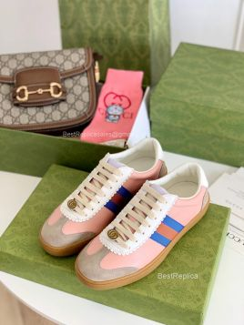 Gucci Screener Pink Leather Low Top Sneaker with Web Detail 2191284
