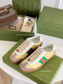Gucci Screener Yellow Leather Low Top Sneaker with Web Detail 2191285