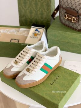 Gucci Screener White Leather Low Top Sneaker with Web Detail 2191286