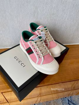 Gucci Web Canvas Low Top Sneaker Pink 2191294