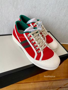 Gucci Web Canvas Low Top Sneaker Red 2191296