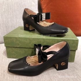 Gucci Chain Trimmed Mary Jane Pumps in Black Lambskin 50MM 2191298