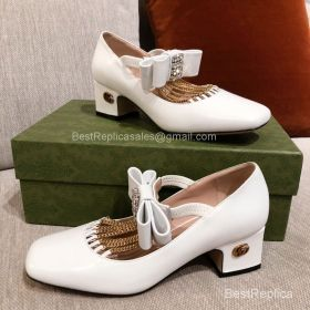 Gucci Chain Trimmed Mary Jane Pumps in White Lambskin 50MM 2191299