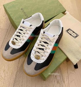 Gucci Screener Web Stripe Perforated Leather Trainers Sneakers Black 2191300