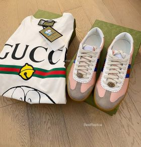 Gucci Screener Web Stripe Perforated Leather Trainers Sneakers Pink 2191301